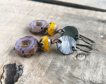 Purple & Yellow Czech Flower Earrings. Czech Glass Earrings. Rustic Flower Bead Earrings. Spring Inspired Floral Jewelry