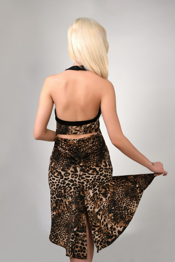 and Product With Front Dress Ruched Print Slits Leopard and Details 620 Dress Code Back Shimmery Tango Velvet RwBCp4xq