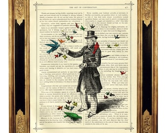 Gentleman feeding Birds Dictionary Art Top Hat Poster - Vintage Victorian Book Page Art Print Steampunk