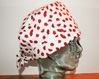 Red Lips on White, Love, Surgical Cap, Vet Tech, Women's Tie Back, Scrub Caps By Daisy