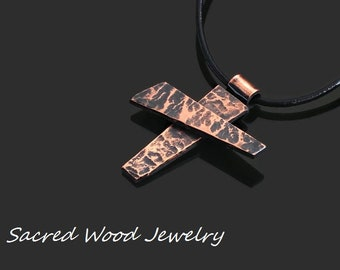 Rustic Copper Cross - Copper Cross - Copper Cross Pendant - Man Cross Necklace - Abstract Mans Cross Pendant - Art Copper Cross Necklace