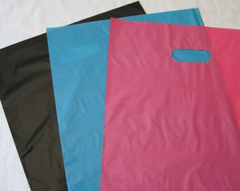 50 Plastic Bags, Black Bags, Hot Pink Bags, Blue Bags, Gift Bags, Candy Bags, Party Favor Bags, Shopping Bags, Bags with Handles 12x15