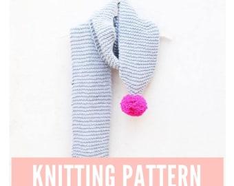 Scarf knitting pattern, long scarf knitting pattern, pom pom scarf pattern, easy scarf pattern, knitting, easy pattern, beginner knitting