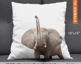 Elephant Throw Pillow Cover, Elephant Pillow Case, Elephant Home Decor, Safari Pillow, Elephant Lovers, Pillow Elephant, Elephant Trunk