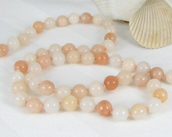 Hand-Knotted Blush Quartz and Sterling Silver Adjustable Necklace
