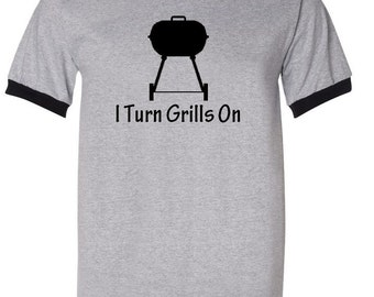 I Turn Grills On Mens Ringer T Shirt Dad Fathers Day Gift Idea - Heather Gray / Black - S, M, L and XL