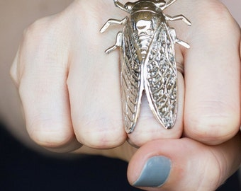 Cicada ring in Silver cicada ring Cicada jewelry insect ring bug ring steampunk ring steampunk jewelry statement ring adjustable ring