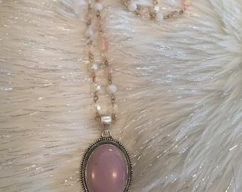Vintage style handmade necklace 925 Sterling silver pink phosphosiderite