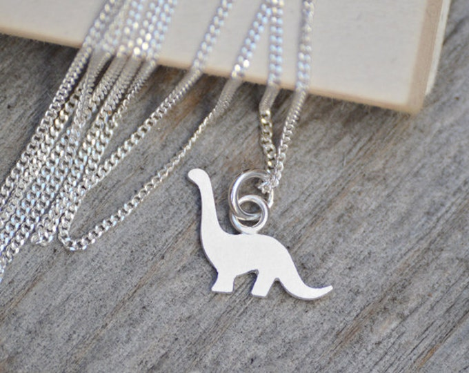 Dinosaur Necklace, Brontosaurus Necklace In Sterling Silver, Handmade In The UK