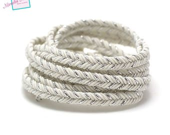 1 m strap braided faux leather 6 mm white 014