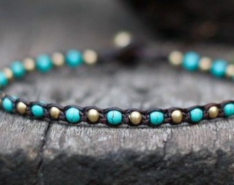 One Line Turquoise Brass Anklet