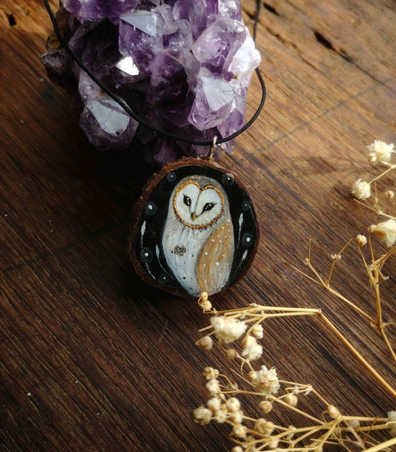 Owl pendant, owls painting, handmade, gift idea