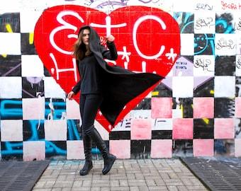 Sci Fi Futuristic Clothing , Harry Potter Cloak Hooded Cloak Oversized Coat Black Hooded Jacket A0008