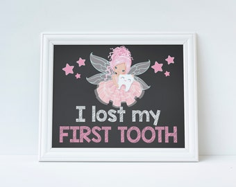 Tooth Fairy, Tooth Fairy Sign, I Lost My First Tooth Sign, Tooth Fairy Prop, Teeth Sign, Instant Download, Printable Sign, Tooth Photo Prop,