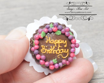 1:12 Dollhouse Miniature Chocolate Happy Birthday Grape Cake BD K2128