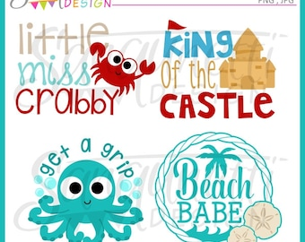 Beach clipart, beach lettering clipart, beach lettering, summer clipart, crab clipart, sandcastle clipart, instant download