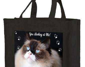 Ragdoll Cat Cotton Shopping Bag with gusset and long handles