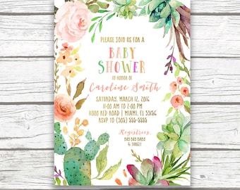 Cactus Baby Shower Invitation, Fiesta Baby Shower Invitation, Southwestern Baby Shower, Succulent Invitation, Tropical Baby Shower Invite