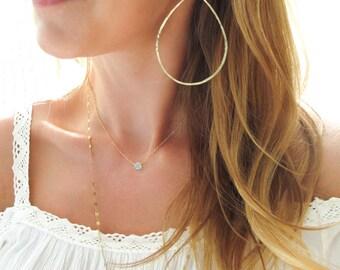Gold Hoop Earrings Extra Large 3 Inch Gold Hoops / Rose Gold Hoops / Sterling Silver Hoops / Large Silver Hoop Earrings / XL Teardrop Hoops