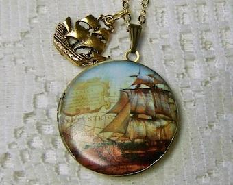Tall Ship Locket - Schooner - Nautical Art Necklace - Steampunk - Pirate Ship - Sailing Ship - Clipper Ship - Windjammer - Antiqued Gold
