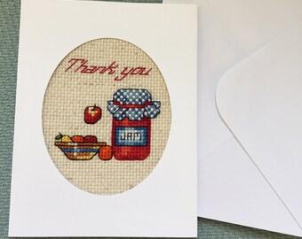 Thank You Card, Cross Stitch Card Handmade