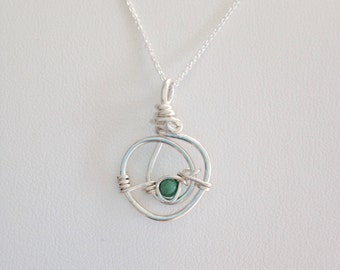 Turquoise & Fine Silver Circle Pendant on Argentium Sterling Chain