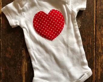 0-3 months red heart onesies Valentine's Day