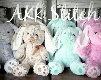 Monogrammed Bunny-Personalized- Embroidered Gift- Stuffed Animal- Customized Gift- Flower Girl Gift- Newborn Announcement- New Baby Gift