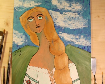 """Made to order - Painting - Romanian woman wearing traditional Romanian Blouse """"IE"""" Painting - Original Painting - Original Artwork"""