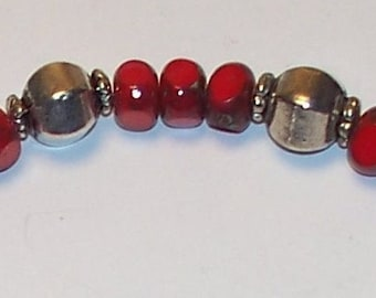"""Handmade 7.5"""" BRACELET RED CZECH Fire Polished Art Glass, Silver Beads and Silver Toggle"""