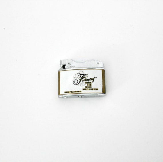 Vintage Lighter 50s Fairmont Hotel and Tower San Francisco Enamel Advertising Cigarette Tobacciana