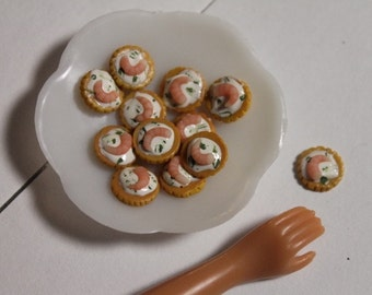 1:6 scale Shrimp canapes for Barbie, Ginny, Fashion Royalty, Blythe, or Momoko, Tyler, Poppy Parker