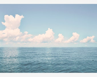 "Deep Blue Ocean and White Fluffy Clouds in Large Oversize Art Photo Print // Ocean Photography for Modern, Nautical Home Decor - ""Out There"""