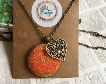 Fabric button pendant Necklace | Button pendant | Button necklace | covered button | gold lace fabric  | orange fabric | UK shop