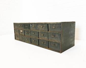 Industrial 18 Drawer Steel Parts Cabinet Vintage Metal Storage Cabinet Military Surplus