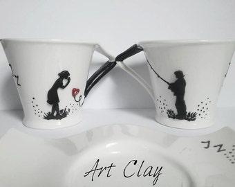 Coffee Mug, Unique Gift Idea, Ceramic Cup, Polymer clay Set, Handmade