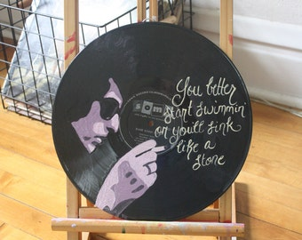 "Bob Dylan ""The Times, They Are A-Changin"" Lyric Record Painting"