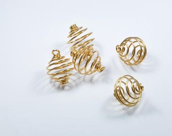LT28 - Set of 5 gold metal cage charm