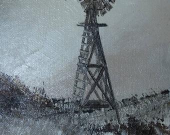 Vintage Oil Painting, Texas Artist Richard Weer, Signed, Wend Mill, Rolling Hills, Landscape original oil painting, Richard Weers Art