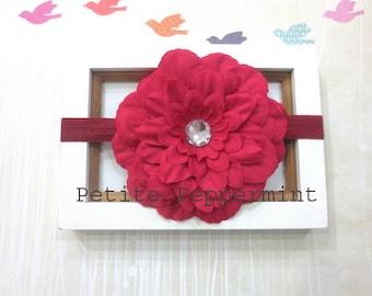 Red baby headband,baby flower headband,infant,toddler,girl headband,red baby hair bow,red baby flower headband