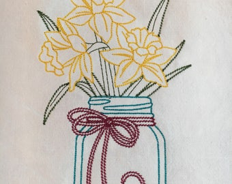 Daffodils and jar tea towel