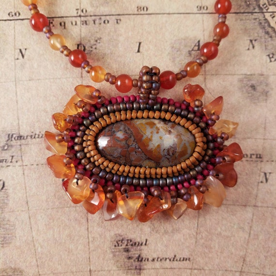 Fiery Carnelian Chip Fringe Montana Red Moss Agate with Beautiful Orange and Red Stains