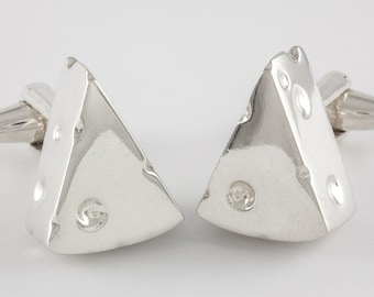 Cheese Cufflinks, Sterling Silver, personalized