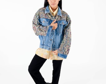Vintage baroque denim jacket / Floral printed jean coat / 90s oversized denim jacket / Ladies denim jacket / Flower denim jacket / Size L NJQr1E2F