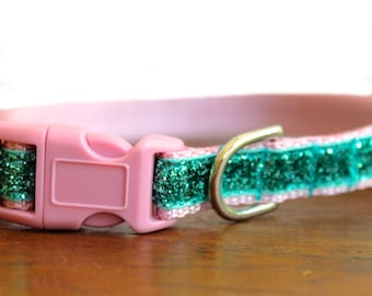 Puppy Dog Collar, Sparkle Dog Collar, Pink Small Dog Collar, Style 337,