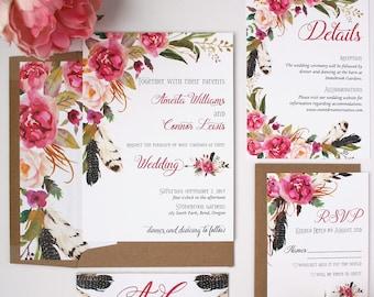 Boho Wedding Invitations - Rose Pink - Wedding Invitations - Boho Pink Collection Deposit