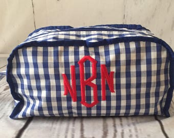 Monogrammed Gingham Make up Bag, Toiletry bag, personalized cosmetic bag