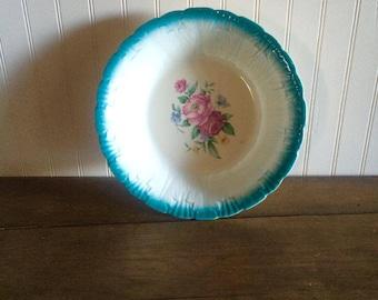 Vintage Homer Laughlin Blue Floral Rose Bowl