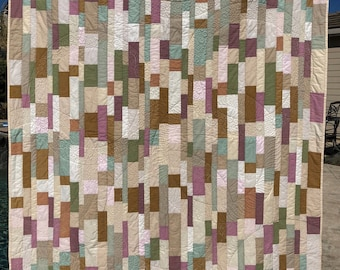 "Original modern quilt in contemporary neutrals/low-volume. Cozy snuggly throw approx 54""x75"" Brown/Tan/Off-White/pink/green solid fabrics"