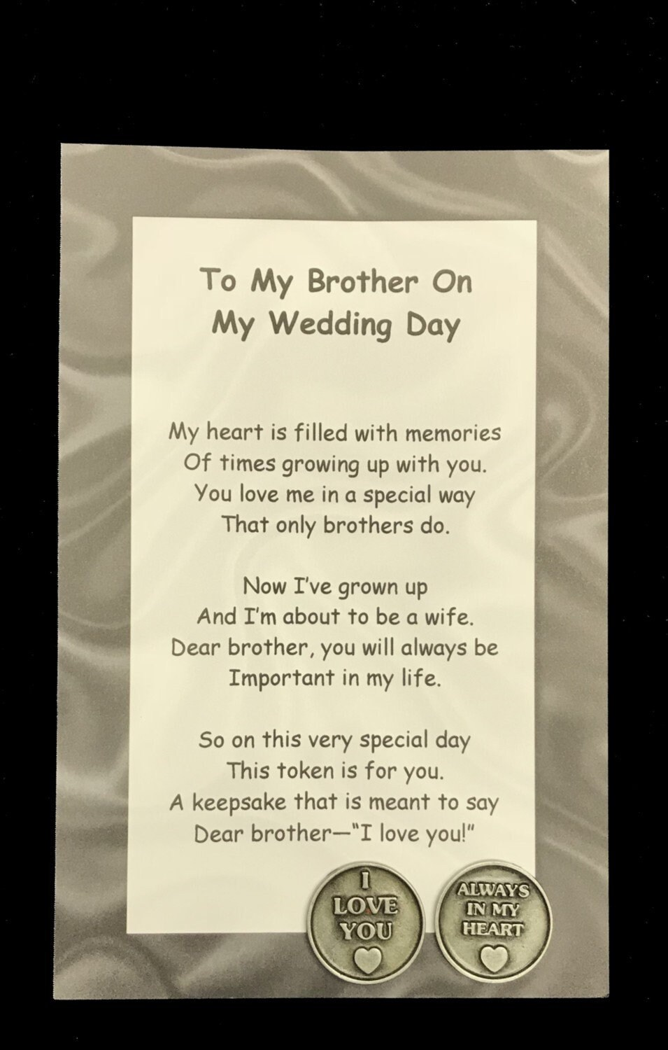 To My Brother On My Wedding Day Poem Pocket Token Gift Set